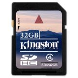 SecureDigital SDHC 32GB Kingston Class 4 (SD4/32GB)